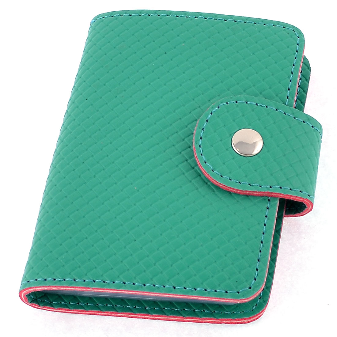 Faux Leather Woven Printed 26 Pcs Capacity Bank Credit Card Holder Cyan