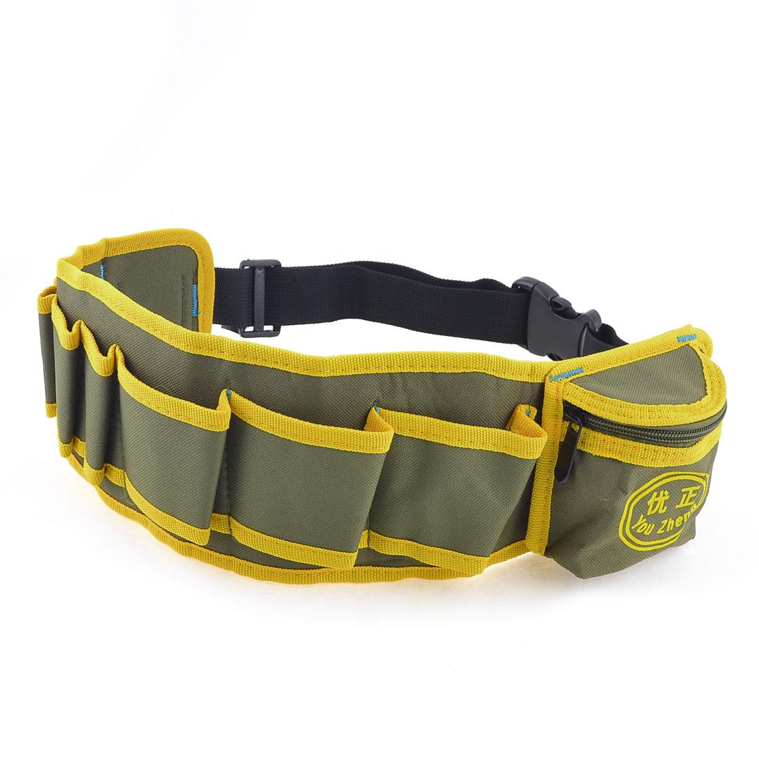 Green Yellow Release Buckle Nylon Pockets Adjustable Work Waist Belt