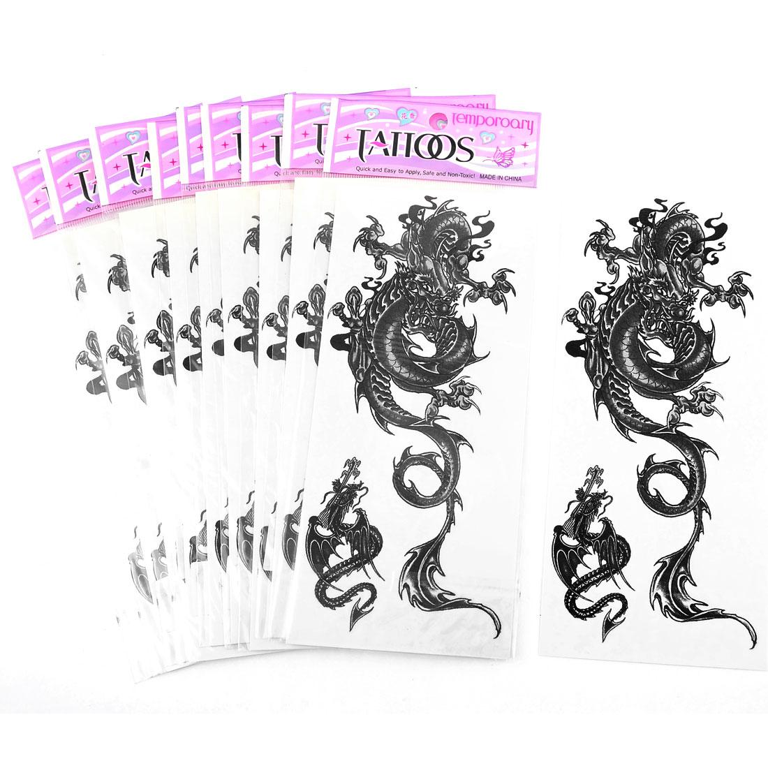 10Pcs Skin Glass Decor Gray Dragon Pattern Transfer Tattoos Stickers