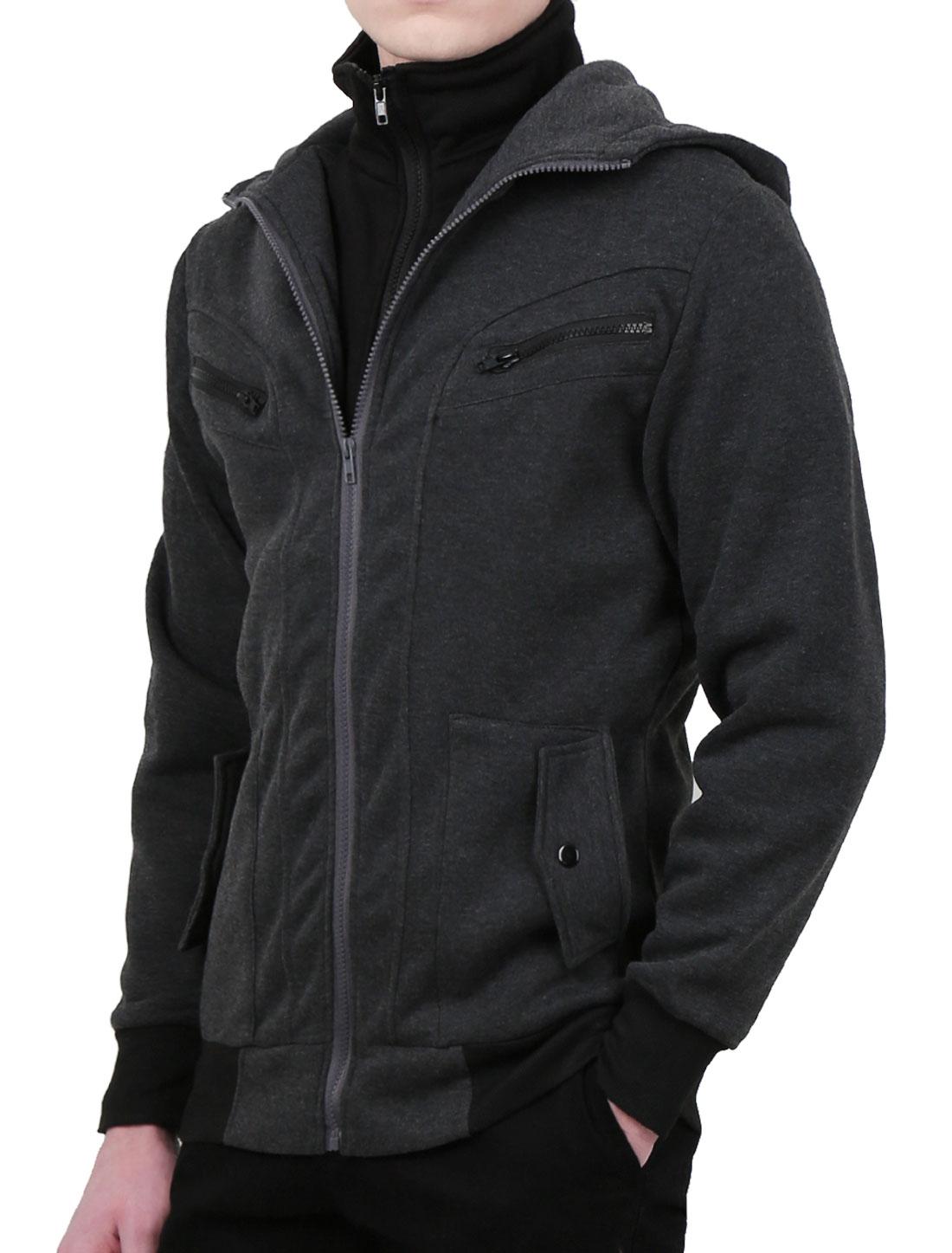 Man Unremoverable Hooded Long Sleeve Fashionable Hoodie Dark Gray L