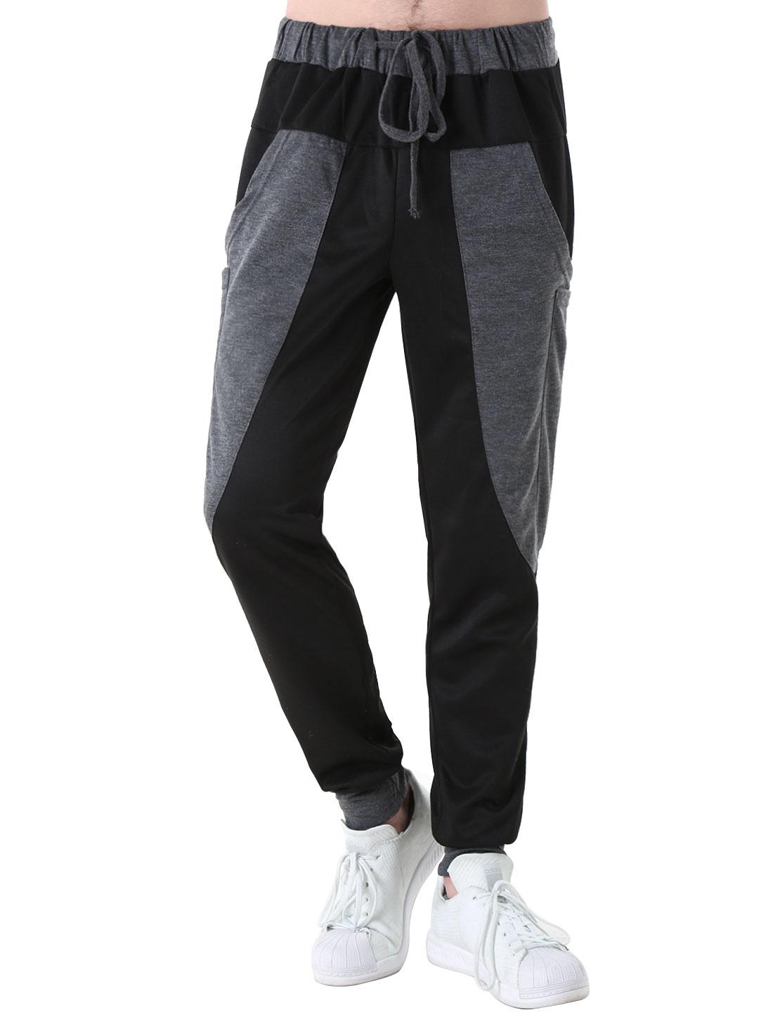 Man Color Block Fashion NEW Elastic Waist Sports Pants Black W34