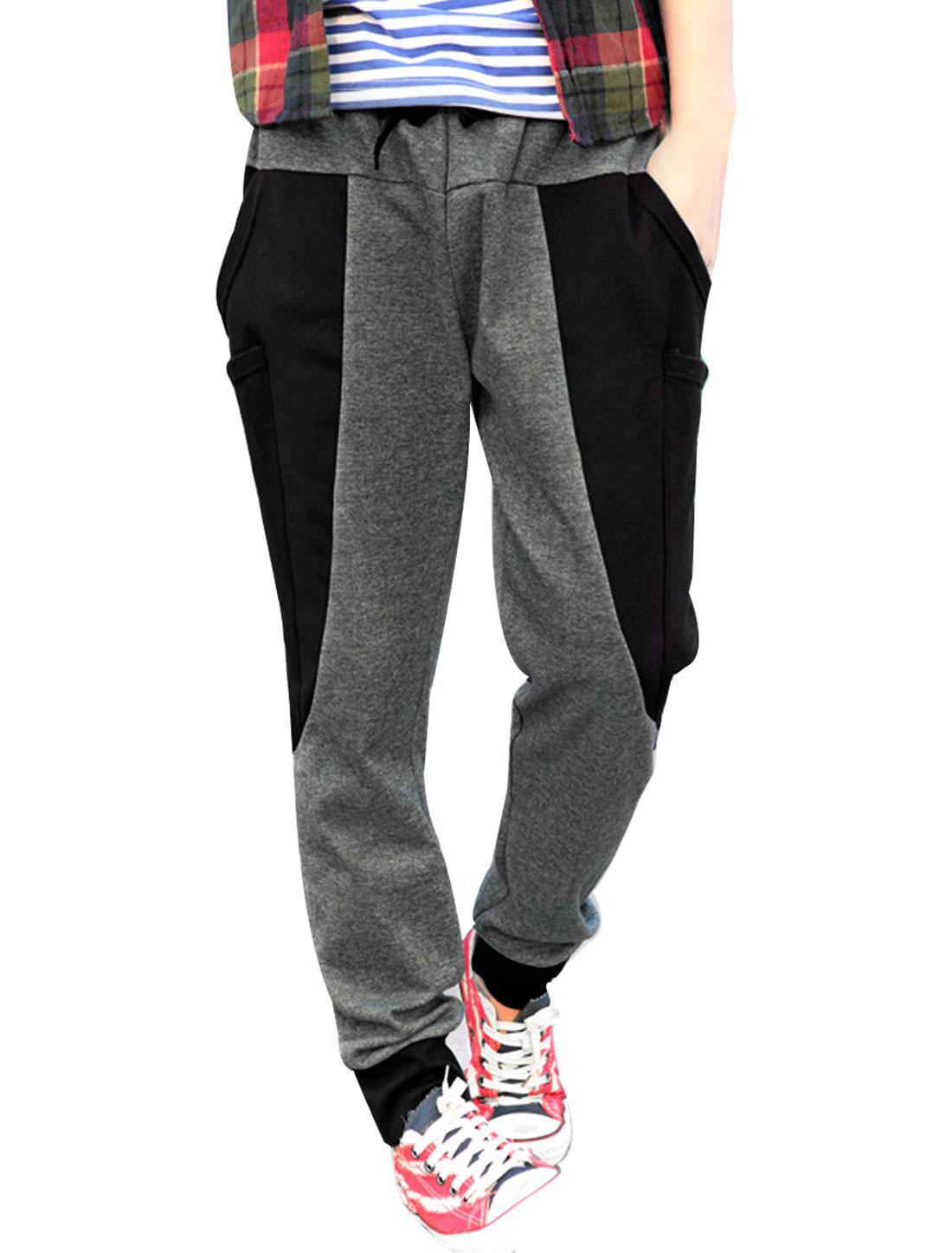 Man Drawstring Waist Big Side Pockets Fashion Sports Pants Dark Gray W36