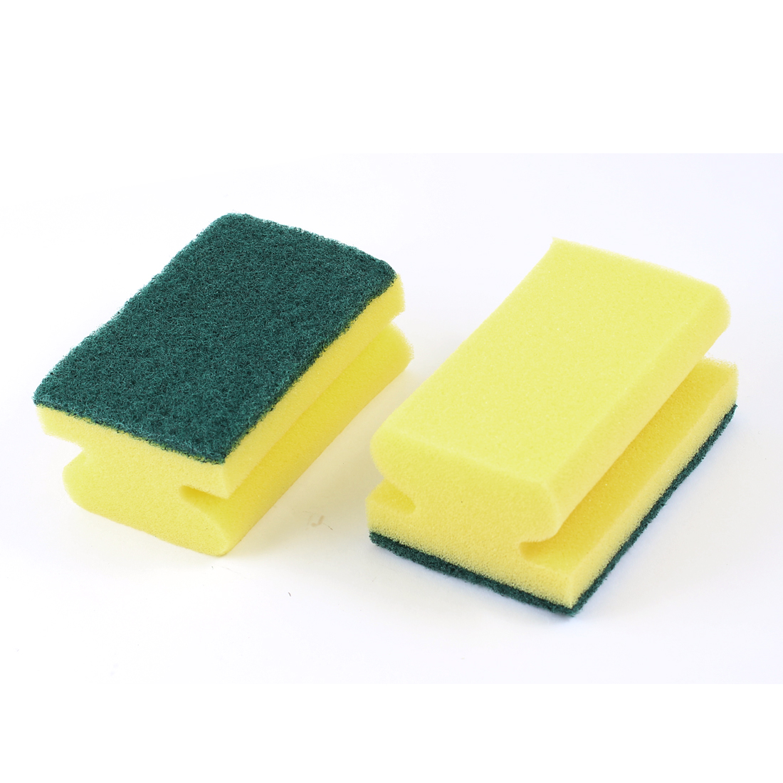 2 Pcs Green Beige Rectangular Sponge Cleaner Brush Pad for Auto Car