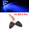 Auto Car Decorative Lamps Blue 6-LED Bulbs Windshield Washer Lights 2 Pcs