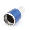 Blue Silver Tone Carbon Fiber Print 6.5cm Inlet Exhaust Muffler Tip for Car