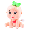 Child Pale Pink Green Plastic Cartoon Infant Shaped Wind Up Clockwork Toy