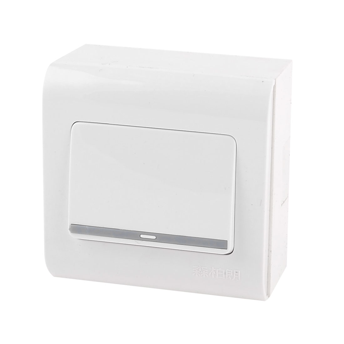AC 250V 10A Single Gang SPST White Plastic Wall Mount Panel Plate Light Switch