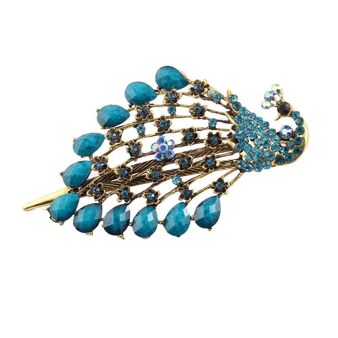 Faceted Rhinestones Accent Peacock Shape Alligator Hair Clip Turquoise