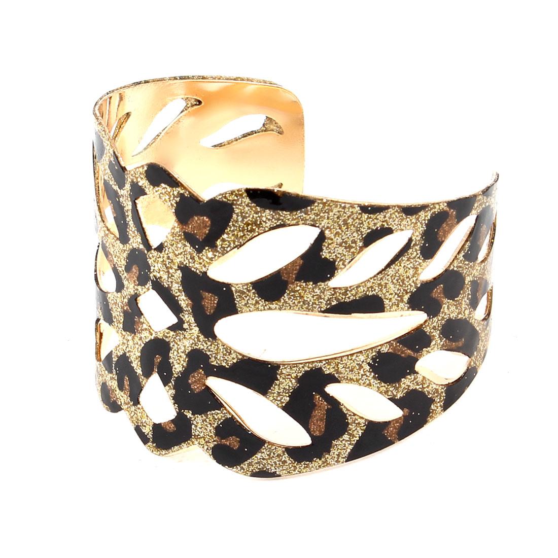 Black Gold Tone Leopard Pattern Cuff Wrist Chain Bracelet Wristband