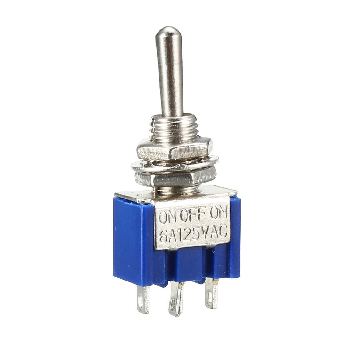 AC 125V 6A 3-Position Blue ON-Off-ON SPDT Toggle Switch