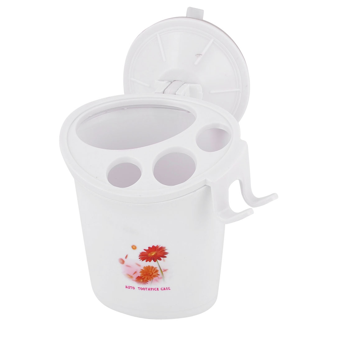 Flower Pattern Suction Cup Mounted Toothbrush Toothpaste Holder Container White