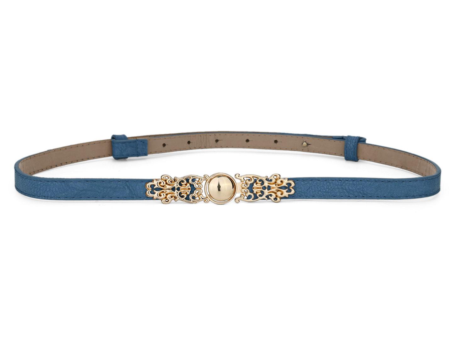 Skirt Dress Match Faux Leather Interlock Buckle Thin Waist Belt Blue for Lady