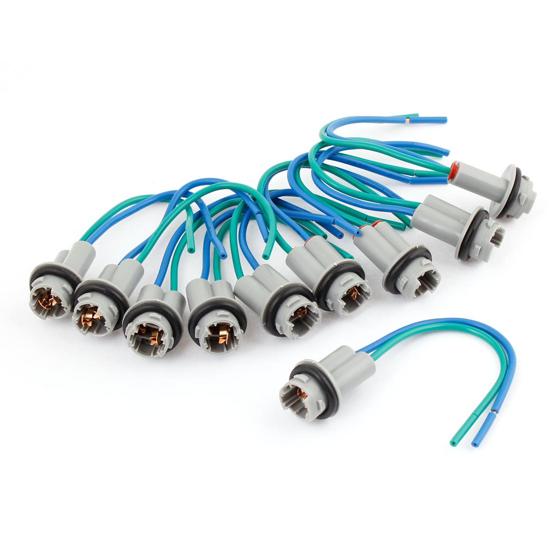 T10 W5W 194 168 Car Waterproof Light Pre-wired Wiring Socket Gray 10 Pcs