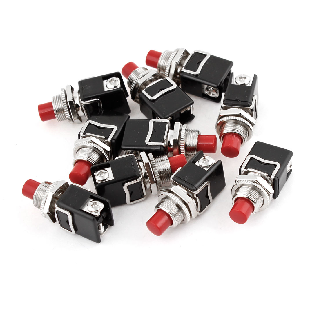 10PCS Car Truck Momentary 2 Terminals Red Press Button Switch DC 12V