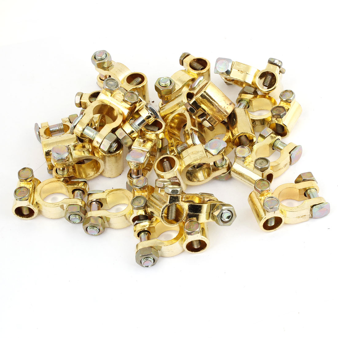 Car Gold Tone Battery Connector Terminals Straight Clamps Set 20 Pcs