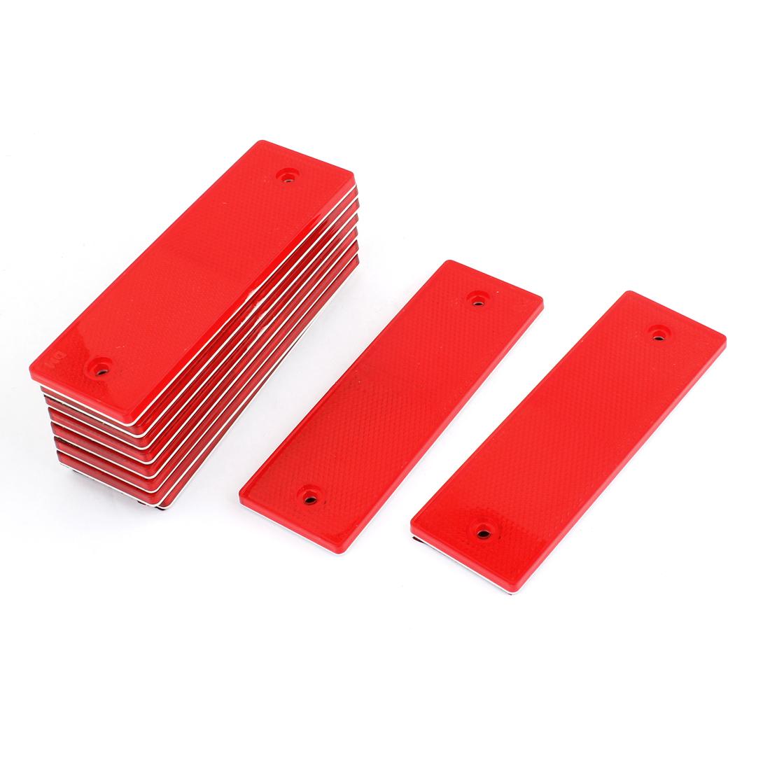 Vehicle Car Red Rectangle Adhesive Plastic Reflective Sticker 10 Pcs