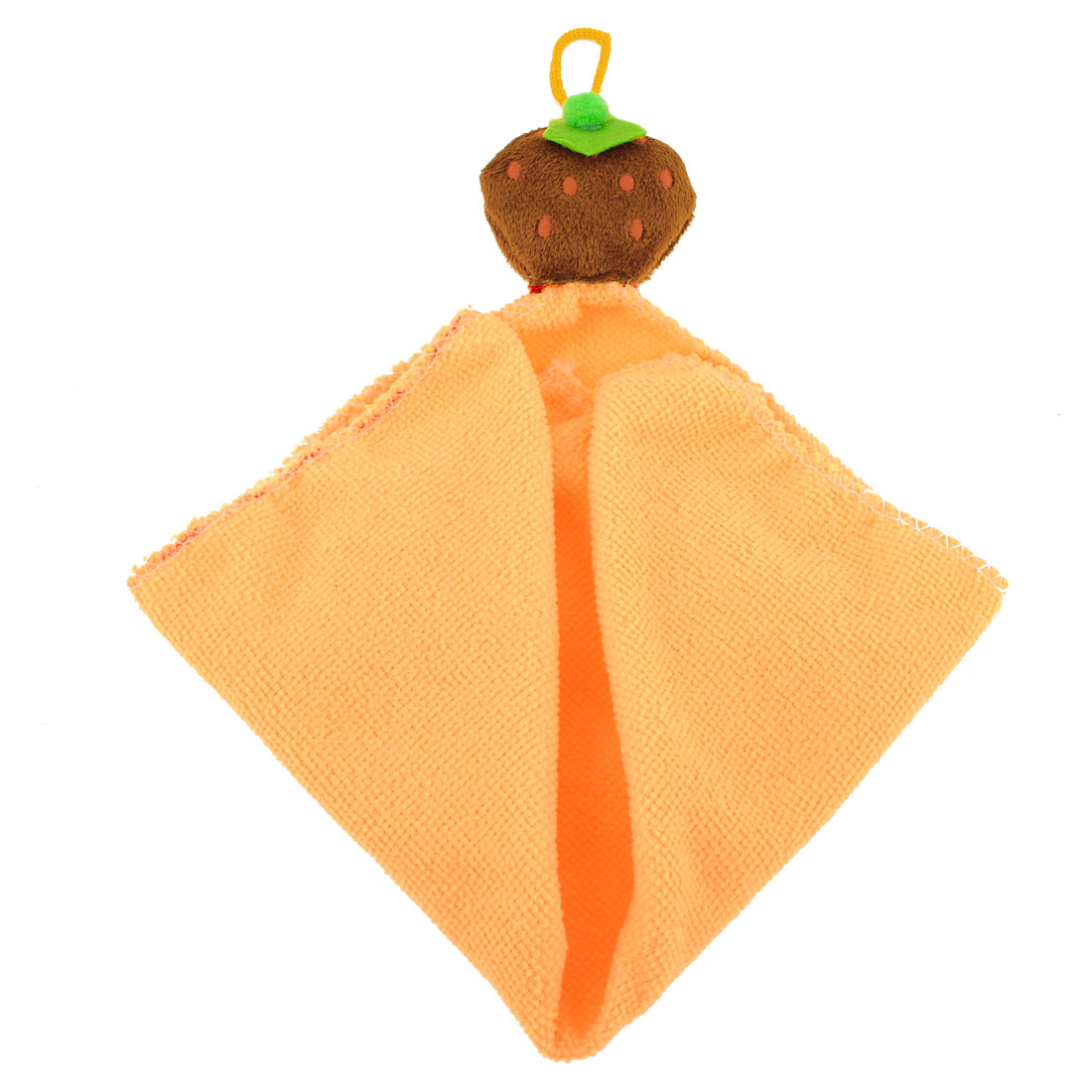 Strawberry Decor Square Shape Hanging Hand Face Cleaning Towel Cloth Orange
