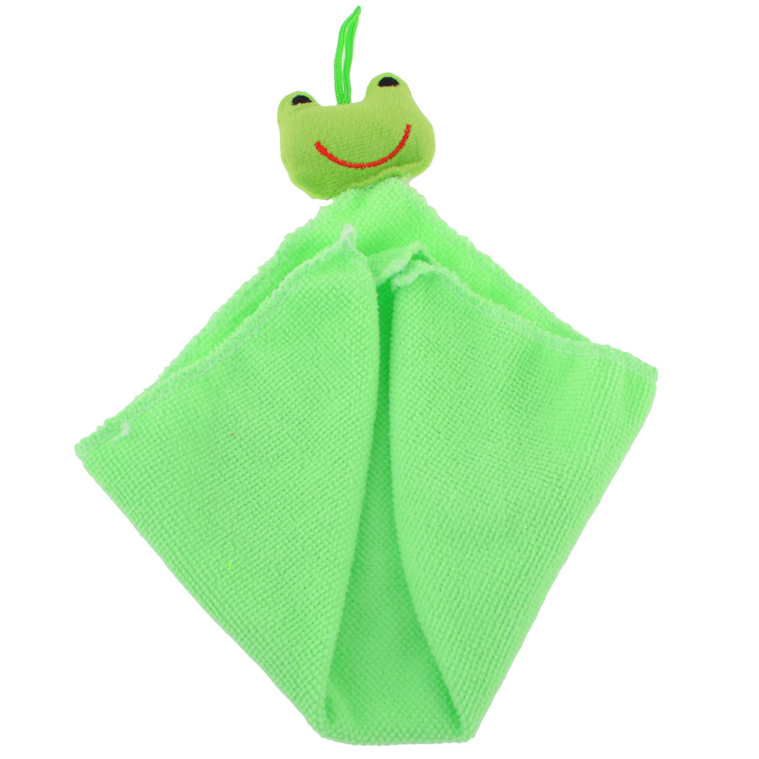 Frog Decor Square Shape Hanging Hand Face Cleaning Towel Cloth Green