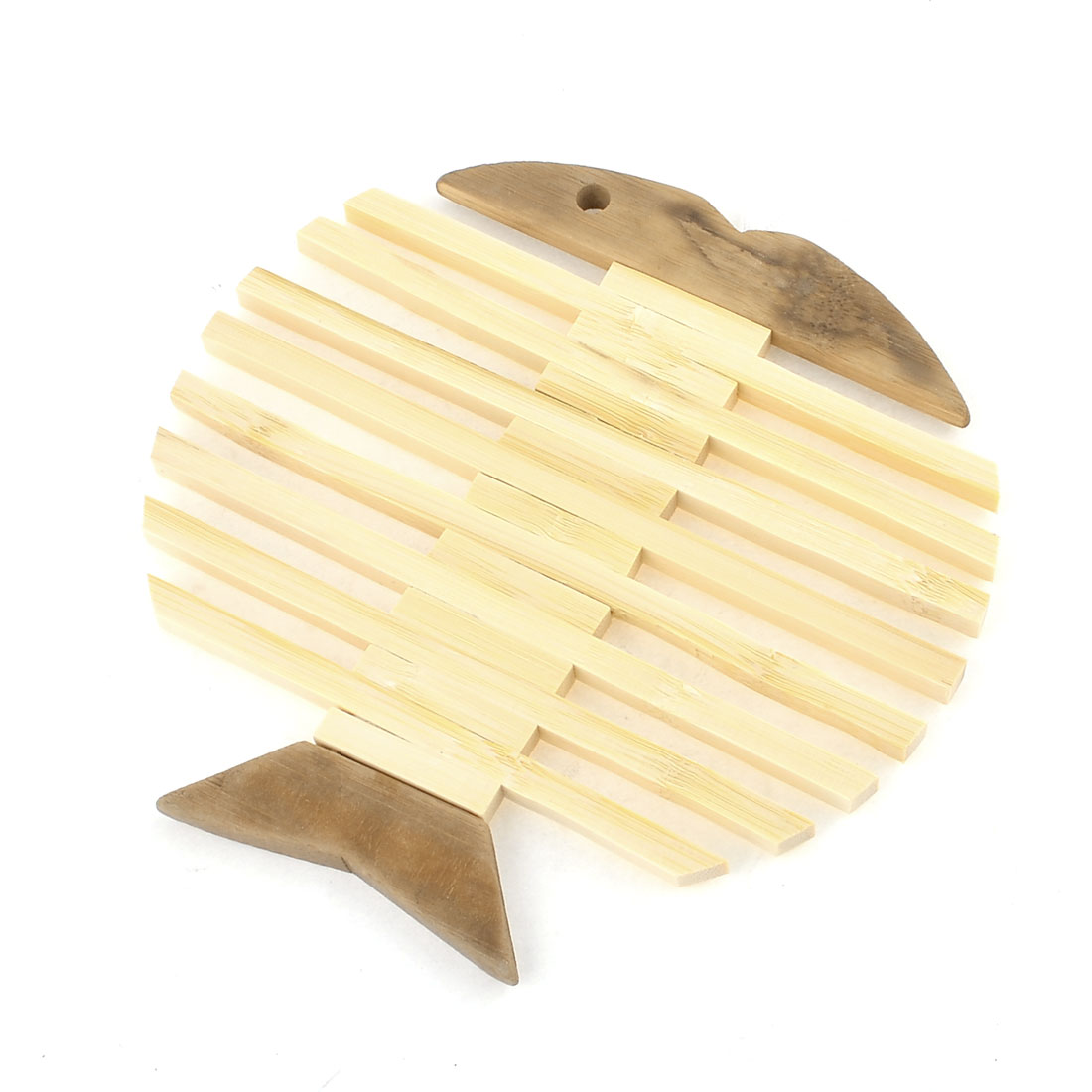 """6.3"""" x 0.24"""" Portable Fish Shape Bamboo Beige Brown Cup Pad Mat"""