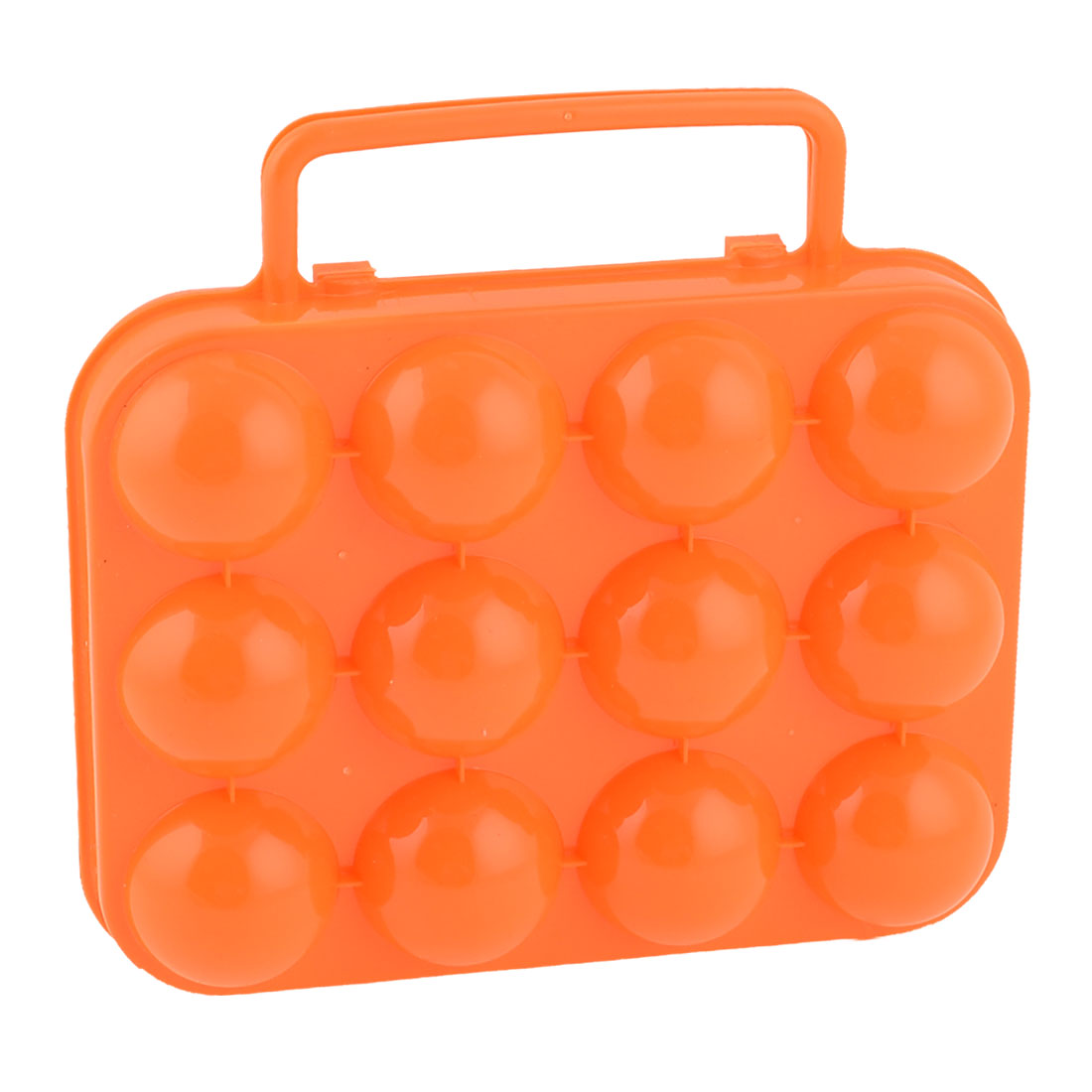 Picnic Camping Orange Plastic Foldable Storage Case 12 Eggs Holder Carrier