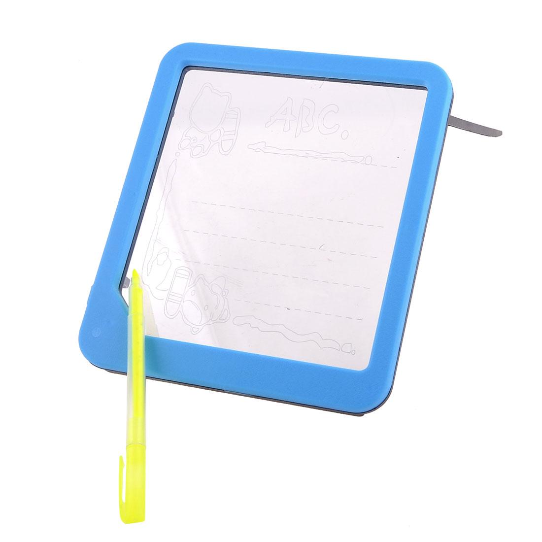 Sky Blue Frame Glowing 5 LED Message Writing Board w Green Yellow Pen