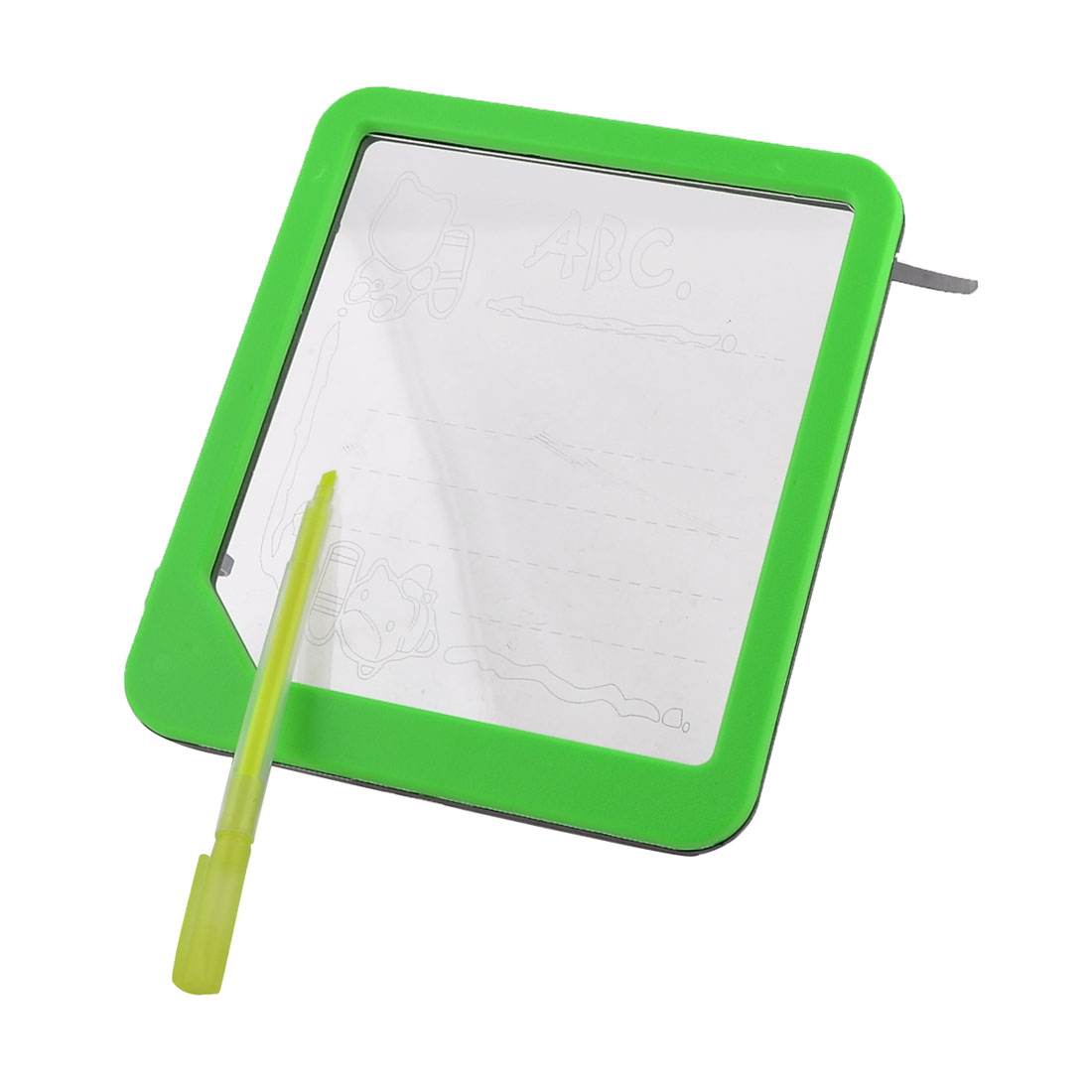 School Plastic Frame Glowing Blue LED Message Writing Board w Green Yellow Pen