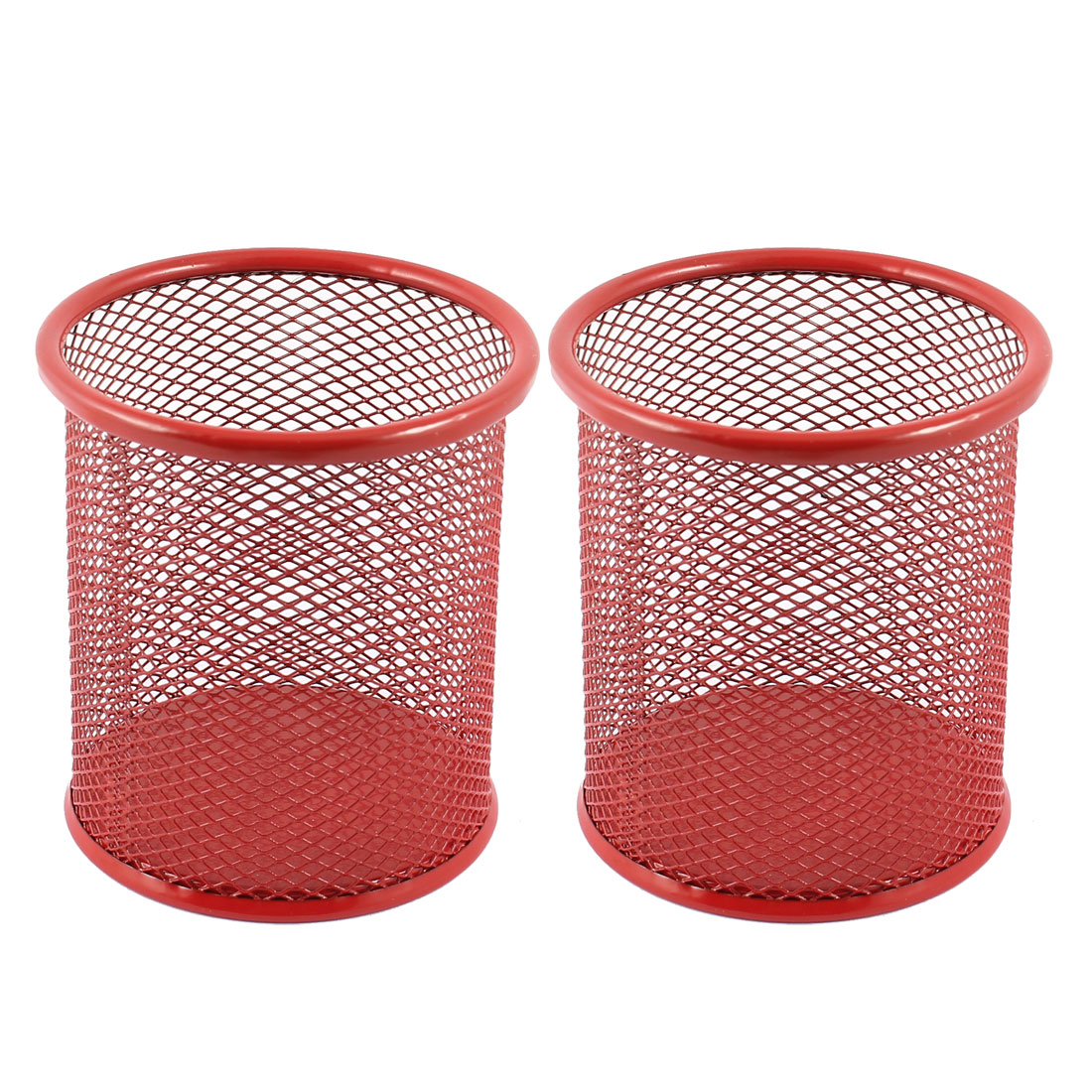 Burgundy Metal Mesh Cylinder Shaped Pen Pencil Holder Container 2 Pcs