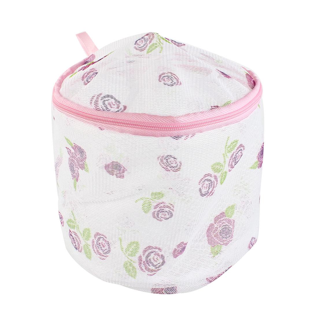 Rose Pattern Zipper Closure Mesh Nylon Laundry Underwear Washing Bag