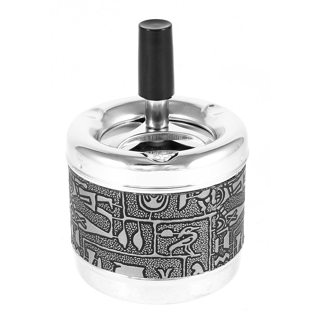 Metal Cylinder Shape Egypt Design Cigarette Ashtray Ash Tray Gray