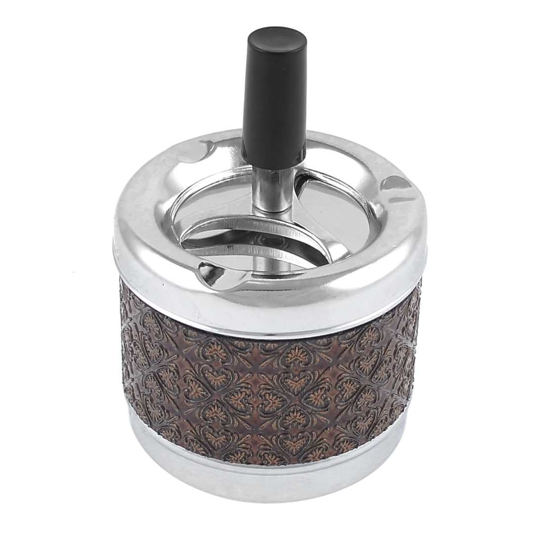 Home Heart Pattern Metal Cylinder Spinning Ashtray Holder Coffee Color