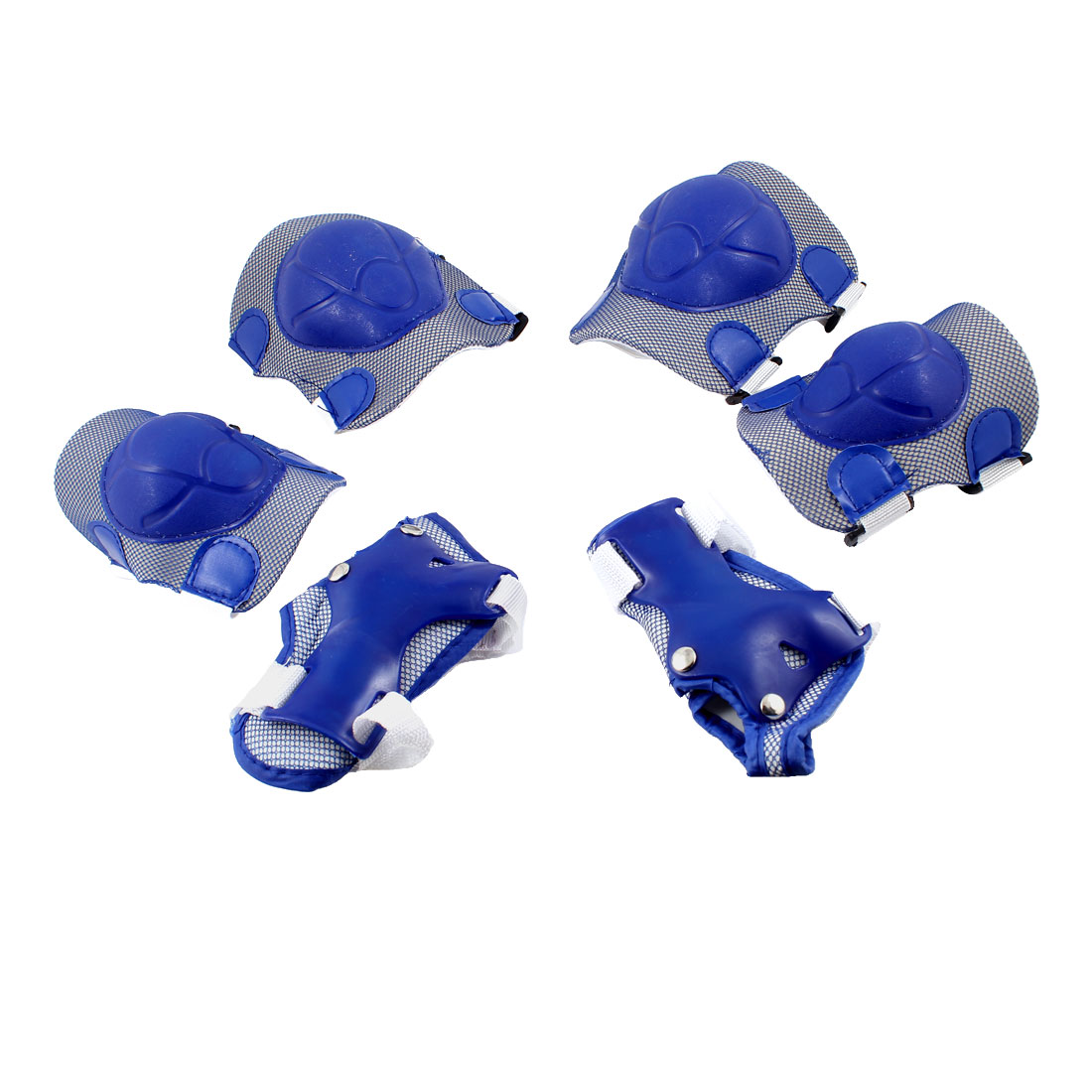 Children 6 in 1 Sports Knee Palm Elbow Protector Guard Brace Blue