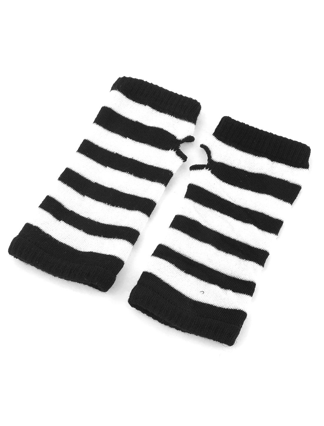 Women Elastic Fingerless Stripe Pattern Wrist Length Gloves Black White Pair