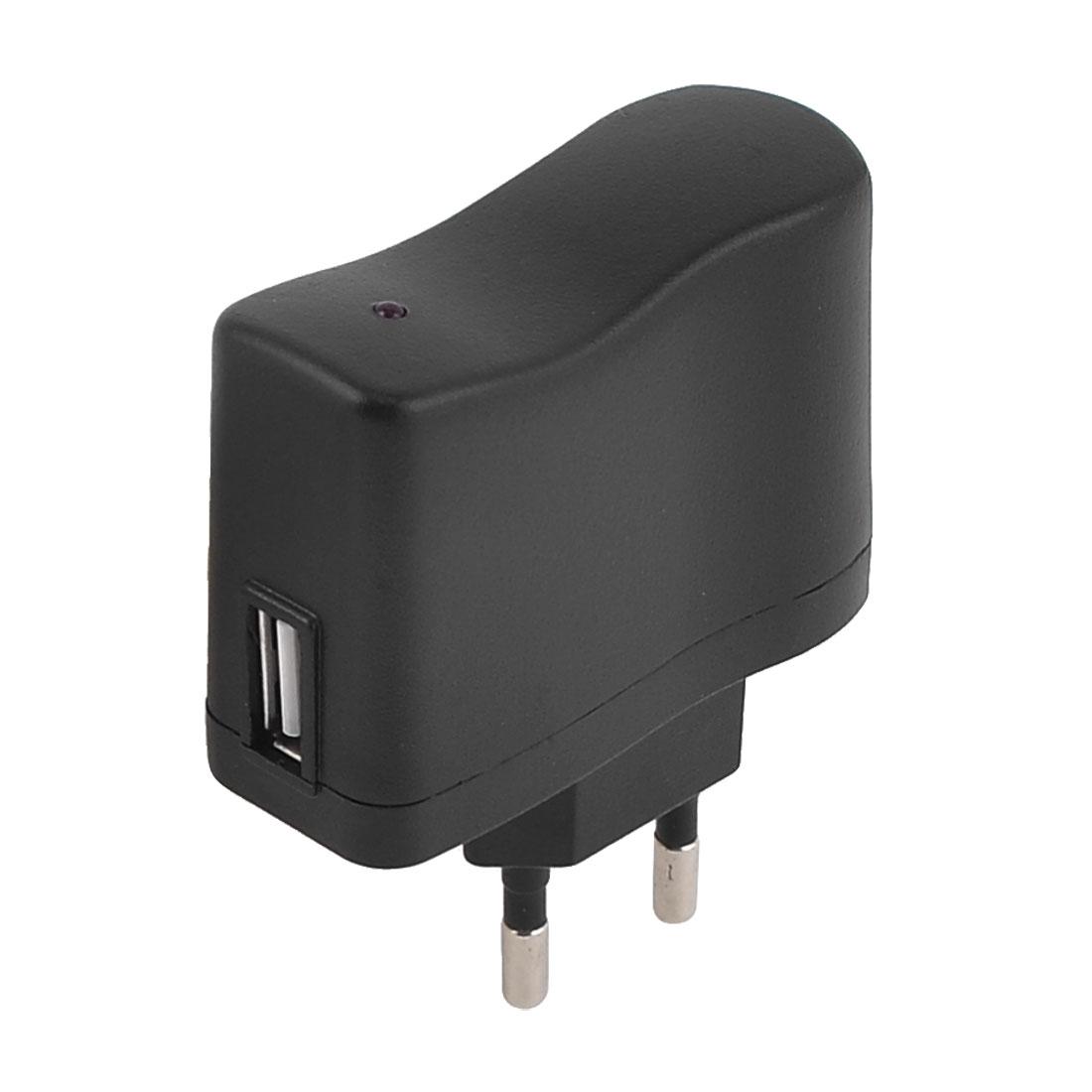 Home Traveling USB Power Charger Black AC 100-240V 50/60Hz 0.1A EU Plug