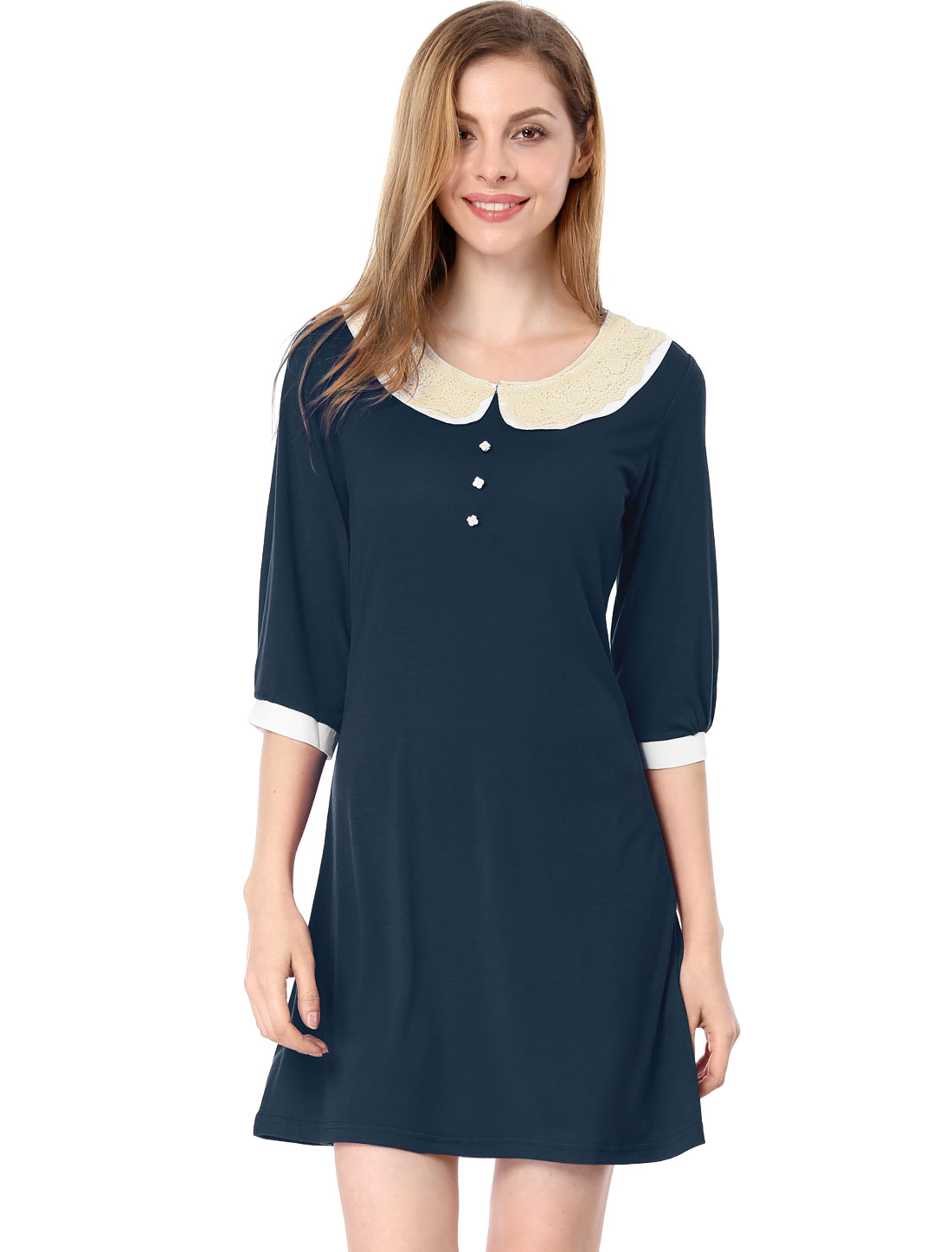Woman Crochet Peter Pan Collar Elbow Sleeve Dark Blue Mini Dress S
