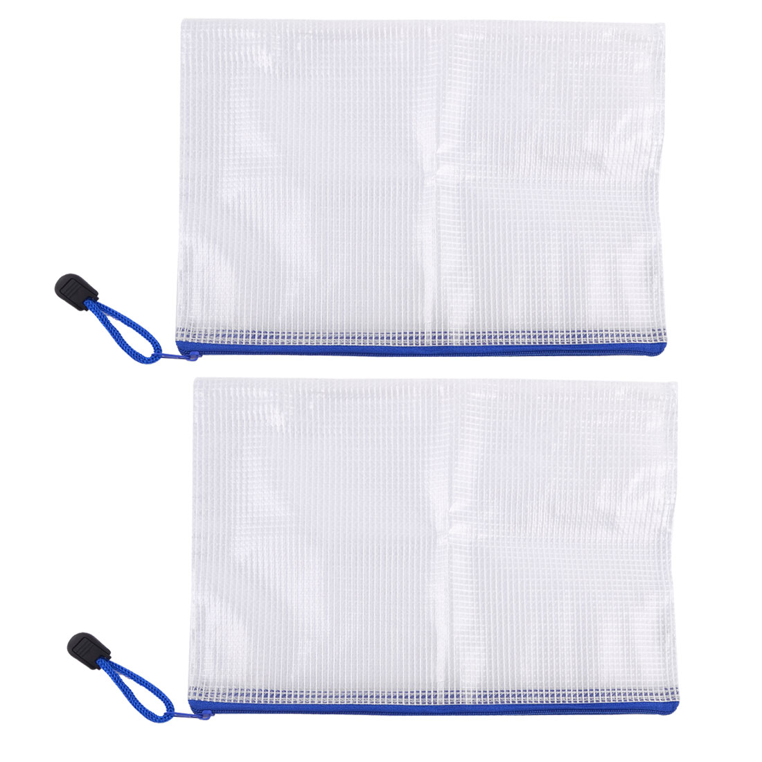 White Blue Plastic Zip Closure A5 Paper Document Pen File Bag Pocket Holder x 2