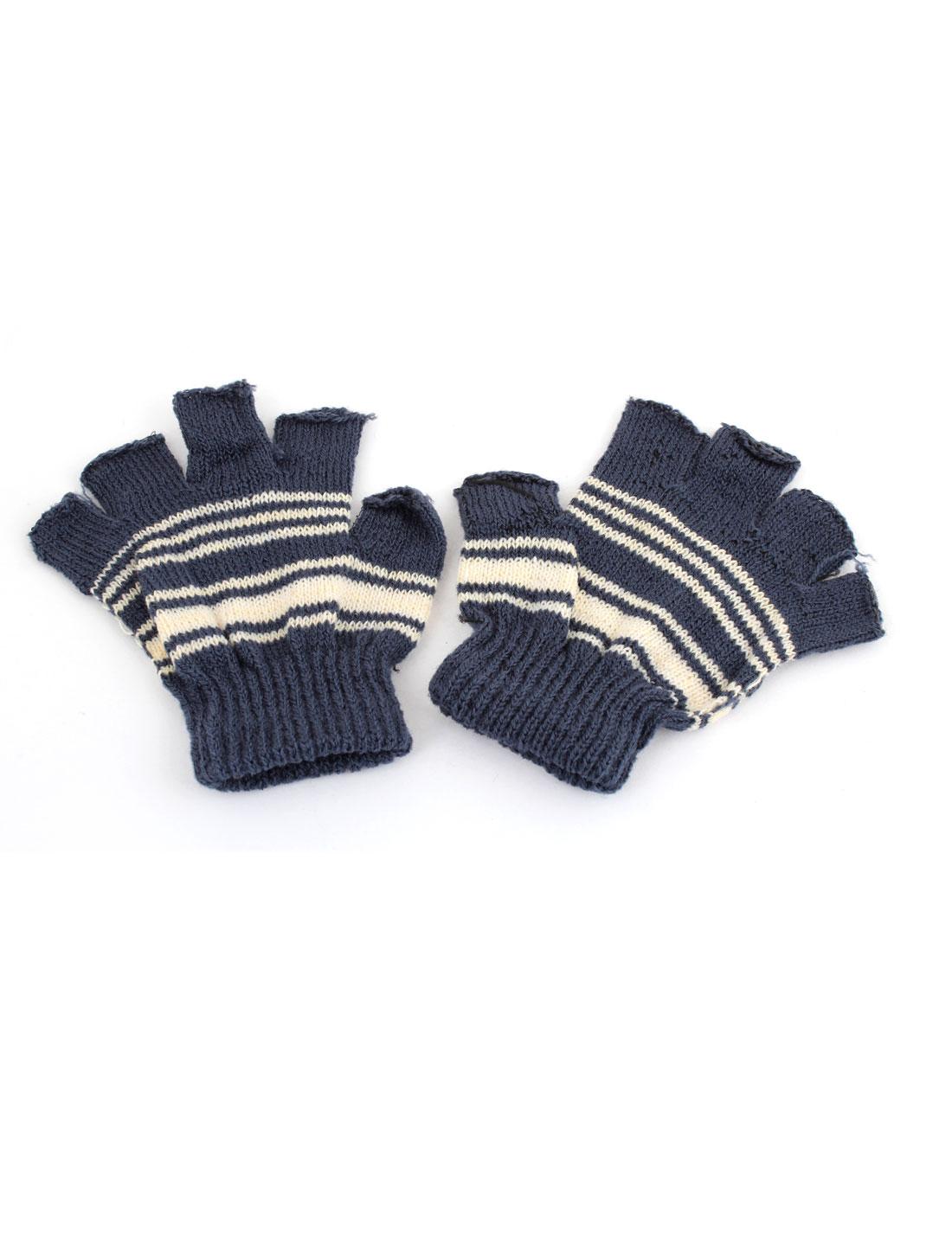 Child Dark Gray Acrylic Stripes Pattern Kintting Fingerless Gloves Pair