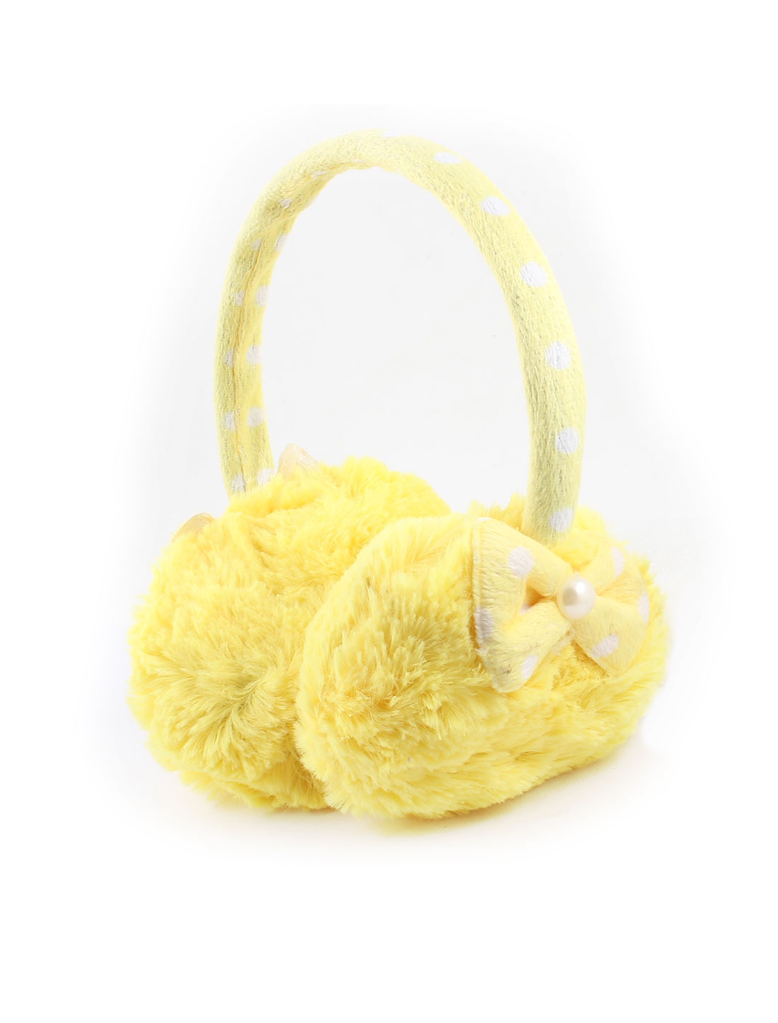 Woman Dots Printed Bowknot Decor Plush Winter Ear Warmer Pads Earmuffs Yellow