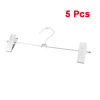 Household Silver Tone Metal 2 Clips Clamps Clothes Pants Hanger Hook 5 Pcs