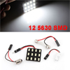 White 12 5630 SMD LED Car Roof Reading Light Panel + BA9S T10 Festoon Adapter