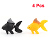 Black Yellow Wiggling Tail Goldfish Aquarium Fish Tank Ornament 4 Pcs