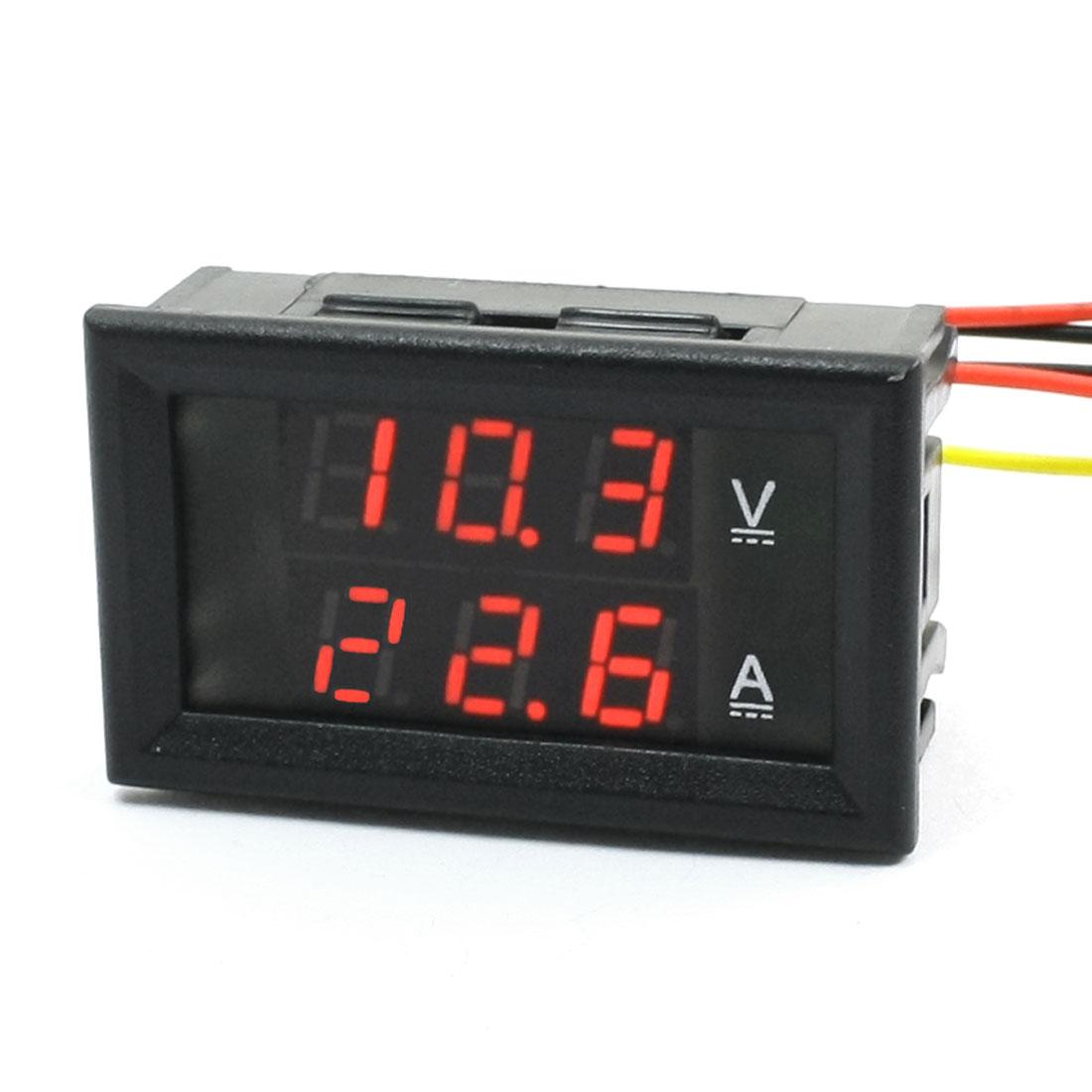 DC 0-100V 100A/75mV Digital Red LED Dual Display Ammeter Voltmeter