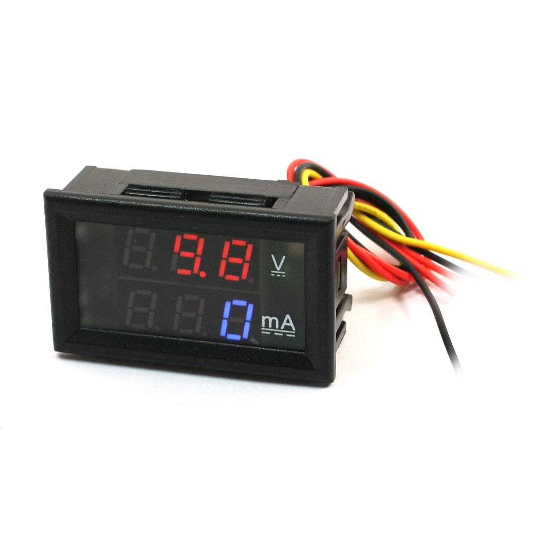 DC 0-999mA Ammeter 0-300VDC Voltmeter Red Blue Digitals LED Meter