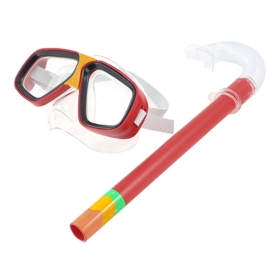 Red Clear PVC Frame Rubber Strap Swim Diving Scuba Goggles Mask Snorkel Set