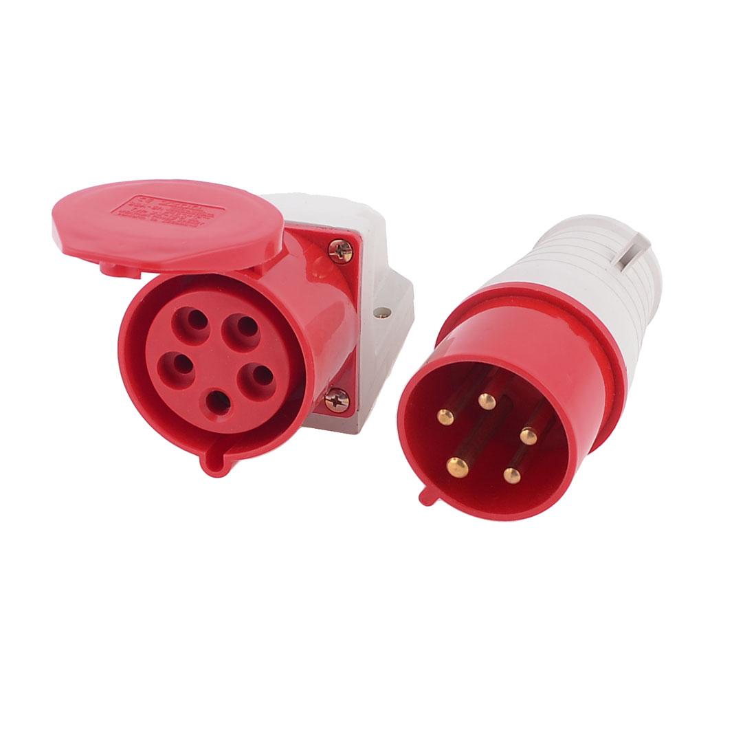 32A 220-380V 4P+E IEC309-2 5 Pin w Waterproof Coupler Contector Socket
