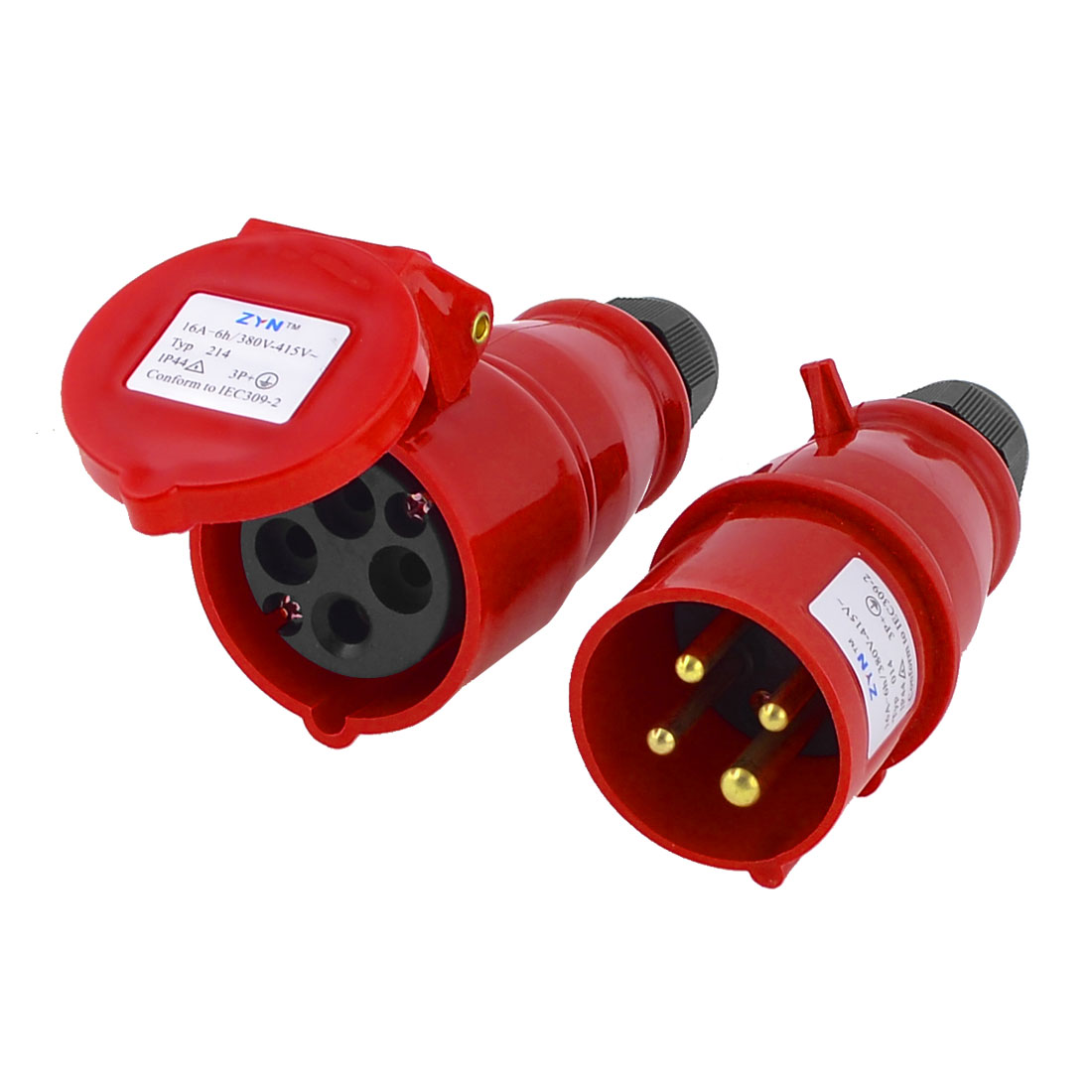 220-240V AC 16A IP44 3P+E IEC309-2 Round Pin Industrial Plug Socket Red