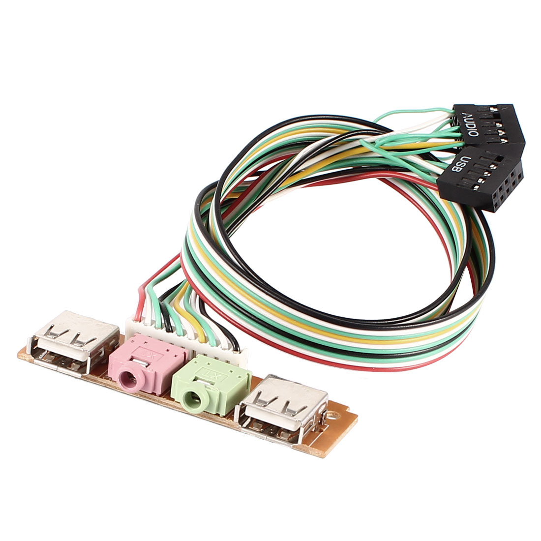 Dual USB 2.0 Female 3.5mm Audio to 2 x Motherboard 9 Pin Header Cable 50cm