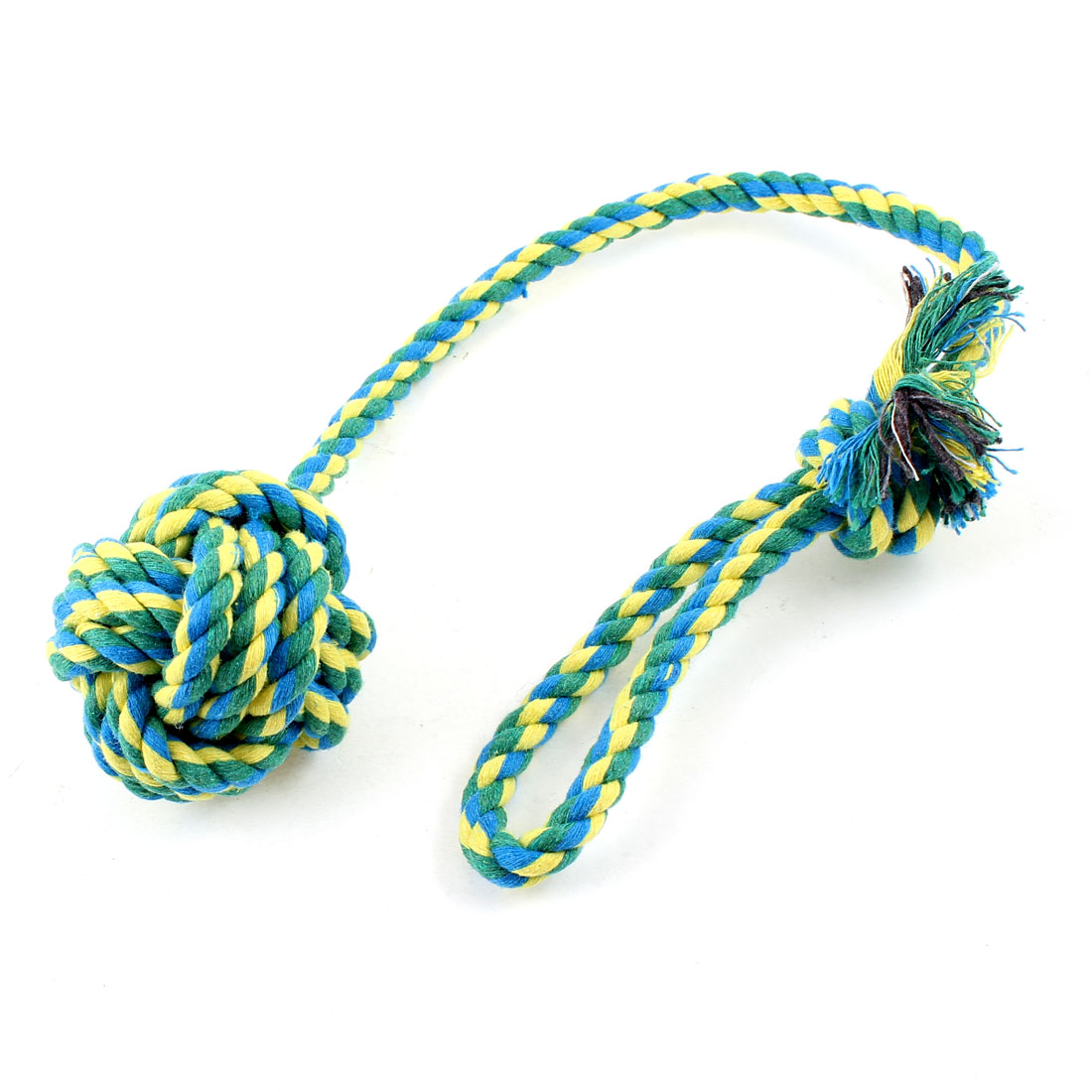 Dog Pet Assorted Color Braided Rope Bone Chew Tug Toy 45cm Long