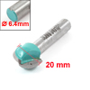 "1/4"" x 1/2"" Dual Flutes Round Nose Core Box Bit Cutting Tool Teal"