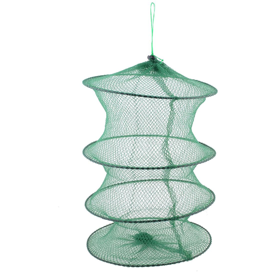 Green 3 Sections Folding Crawfish Lobster Crab Fishing Keep Net