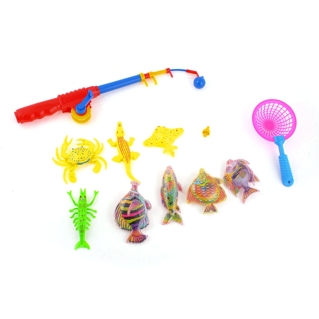 Kids Multiclors Crab Fish Pole Magnetic Hook Angling Fishing Toy 10 in 1 Set